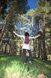 Woman dancing at forest Royalty Free Stock Photography