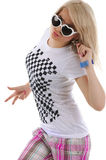 Woman is dancing hip-hop. Royalty Free Stock Photos
