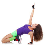 Woman dancing hip-hop and pointing Stock Images