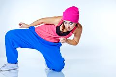 Hip-hop woman dancing in studio. Woman dancing hip hop in studio Stock Image