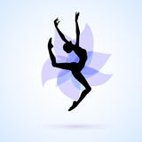 Woman dancing icon. Female silhouette dancing on abstract flower background Royalty Free Stock Photos