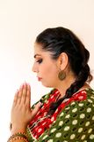 Woman dancing Indian dance in national dress. Shree kurta. Woman dancing Indian dance in national dress. A beautiful girl portrait in shree kurta patiala set Stock Image