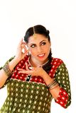 Woman dancing Indian dance in national dress. Shree kurta. Woman dancing Indian dance in national dress. A beautiful girl portrait in shree kurta patiala set Royalty Free Stock Photos