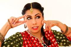 Woman dancing Indian dance in national dress. Shree kurta. Woman dancing Indian dance in national dress. A beautiful girl portrait in shree kurta patiala set Stock Photography