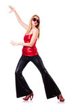 Woman dancing isolated Royalty Free Stock Photos