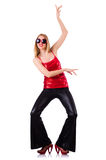 Woman dancing isolated Stock Images