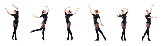 The woman dancing isolated on the white Royalty Free Stock Images