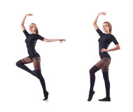 The woman dancing isolated on the white Stock Image