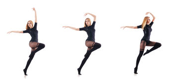 The woman dancing isolated on the white Stock Photography