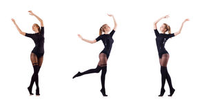 The woman dancing isolated on the white Stock Photos