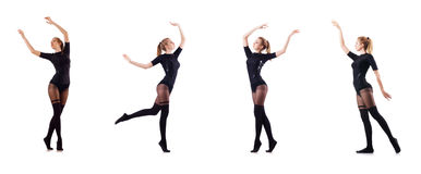 The woman dancing isolated on the white Stock Images