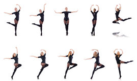 The woman dancing isolated on the white Stock Photo