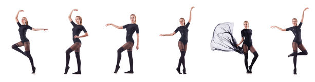 The woman dancing isolated on the white Royalty Free Stock Photography