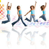 Woman Dancing and Jumping Stock Images
