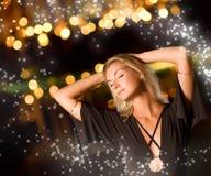 Woman dancing late at night Royalty Free Stock Photos