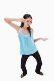 Woman dancing while listening to music Royalty Free Stock Photos