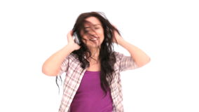 Woman dancing while listening to music stock video