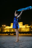 Woman dancing in the night city view Royalty Free Stock Image