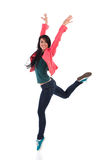 Woman dancing on one leg Royalty Free Stock Photography