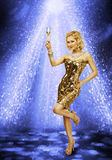Woman Dancing Party Champagne Glass, Girl Dance Night Club Royalty Free Stock Image