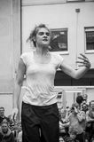 Woman dancing performance of modern jazz in the street. MULHOUSE - France - 15 July 2017 - dancing performance of modern jazz in the street of Mulhouse during Royalty Free Stock Photos