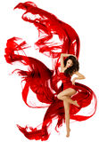 Woman Dancing Red Dress, Fashion Model Dance Flying Waving Fabric. White isolated Royalty Free Stock Images