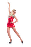 Woman dancing in red dress Stock Images