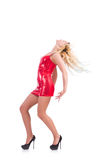 Woman dancing in red dress isolated Stock Photo