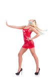 Woman dancing in red dress isolated Stock Photography