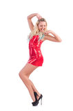Woman dancing in red dress isolated Royalty Free Stock Photography