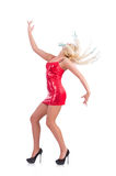 Woman dancing in red dress isolated Stock Photos