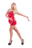 Woman dancing in red dress isolated Royalty Free Stock Image