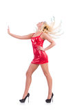 Woman dancing in red dress isolated Royalty Free Stock Photo
