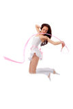 Woman dancing with ribbon Royalty Free Stock Images