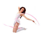 Woman dancing with ribbon Stock Images