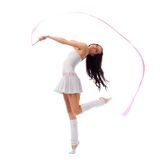 Woman dancing with ribbon Royalty Free Stock Image