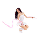 Woman dancing with ribbon Stock Photography