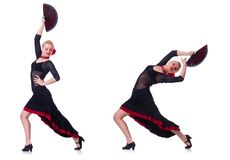 The woman dancing spanish dance isolated on white Royalty Free Stock Photos