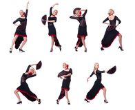 The woman dancing spanish dance isolated on white Stock Images