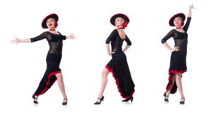 The woman dancing spanish dance isolated on white Royalty Free Stock Images
