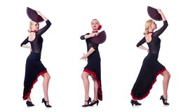 The woman dancing spanish dance isolated on white Stock Photo