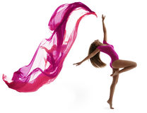 Woman Dancing Sport, Girl Dancer Flying Cloth. Woman Dancing in Sport Leotard, Girl Dancer with Flying Cloth Fabric, Flexible Gymnast Posing on White background royalty free stock image