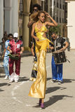 Woman dancing on stilts Havana royalty free stock photos