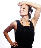 Woman Dancing To Music With Headphones Royalty Free Stock Images