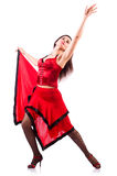 The woman dancing traditional spanish dance isolated on white Royalty Free Stock Photos