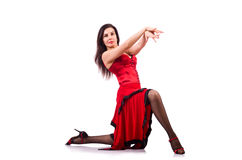 The woman dancing traditional spanish dance isolated on white Stock Photo