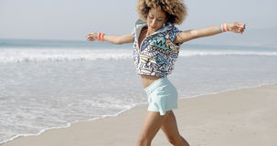 Woman Dancing On The Tropical Beach Stock Image
