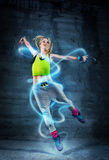 Woman dancing in urban environment royalty free stock photos