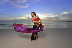 Woman dancing with a veil Royalty Free Stock Images