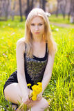 Woman with dandelions Royalty Free Stock Photos